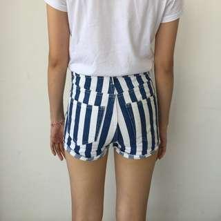 H&M High Waist Striped Denim Pants Preloved