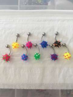 9x spiky ball belly ring 14g gauge piercing set