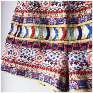 Zara embroidered boho colourful print shorts