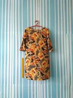 Vintage Print 3/4 Sleeve Shift Dress