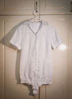 White one piece button down