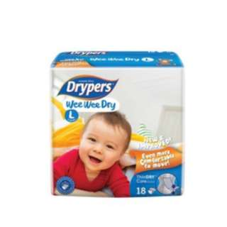Drypers Wee Wee Dry Regular Pack L18