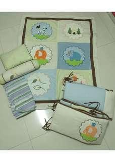 Baby Cot Bumper Bedsheet Set