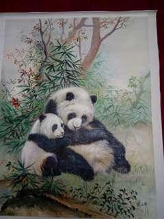 油画熊猫。张江平作。100x78cm