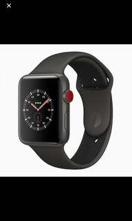 收全新apple watch 3 lte 42mm 黑色 全新 未拆包裝
