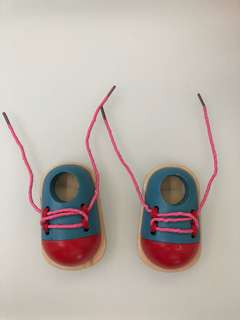 Wooden Shoes, Tie Shoelaces, Early Learning
