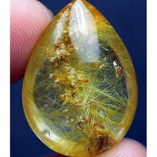 (Promo)23.8Ct 100% Natural Clear Golden Sun Rutile Crystal Pendant Polished. Fine Gold Needle. Good for Pendant. Affordable.