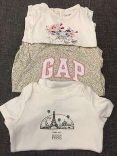 0-3m BabyGap Rompers set of 3