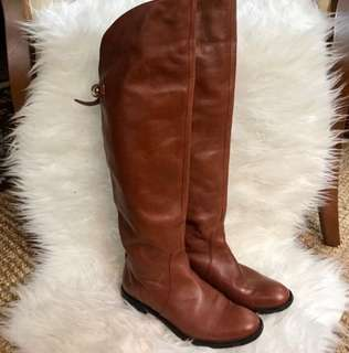 Authentic Coach Cognac Brown Leather Over the Knee Riding Boots