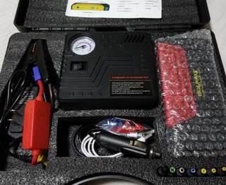Battery jump starter kit with tyre pump