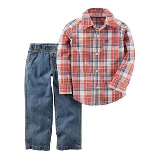2-Piece Plaid Button-Front & Denim Pant Set