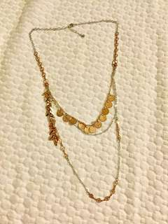 Rose gold/copper and silver layered coin necklace