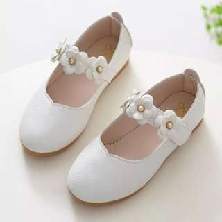 White Flower Girl Shoes