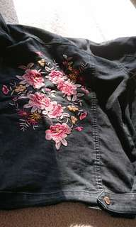 black embroidered denim jacket size xs