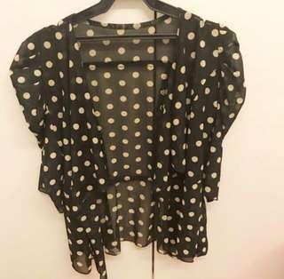 ❗️ PROMO Black and nude polka dot sheer ruffled blazer