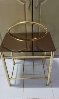 Glass top with gold bedside table