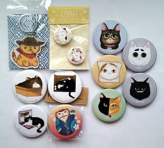 Cat theme Button Badges, Keychain Charms & Magnetic Bottle Opener
