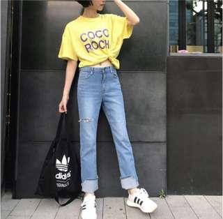 🚚 湯小妹韓國🇰🇷 代購 水洗刷破反摺牛仔褲