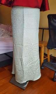Soft mint green brocade mermaid skirt