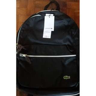 LACOSTE BLACK WHITE SMALL BACKPACK