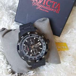 Authentic Invicta Signature II Chronograph Black Dial Black Ion-plated Mens Watch 7399