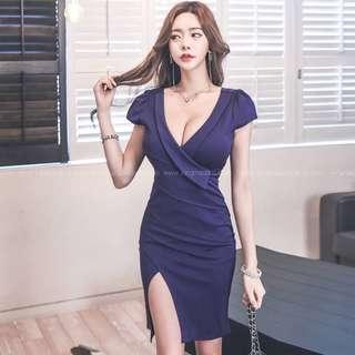 🚚 052502(S~XL)韓國 名媛性感V領低胸包臀顯瘦開叉洋裝