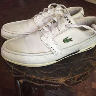 Authentic Lacoste White Leather Shoes