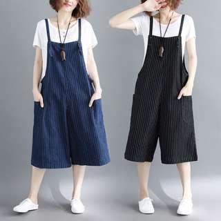 YM509 棉料直條紋牛仔連身褲  (M L XL)