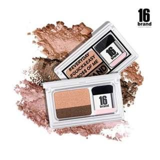 16 Brand Korean 2018 Must-Have Dual One Swipe Smokey Big Doll Eyes Shimmer Waterproof Daily Quickie Eye Shadow - Coral / Brown