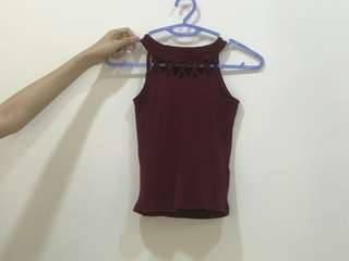 Maroon Cut Out Tank Top