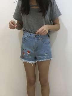 Autumn Fox Denim Shorts