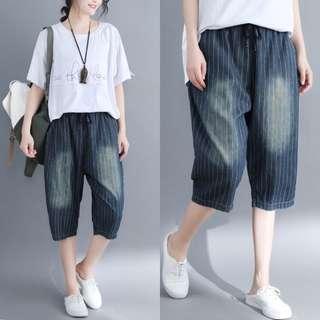 YM512 棉料直條紋橡筋腰牛仔褲  (L XXL)