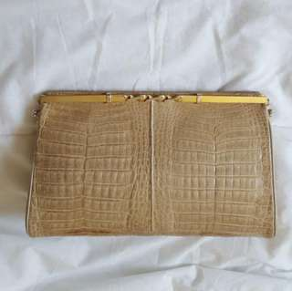 Vintage croco. Clutch Bag