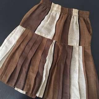 🚚 日本購入 古著 卡奇咖啡米色拼接鬆緊雪紡及膝裙