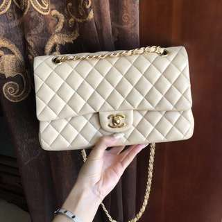 Chanel Classic Medium Flap Bag in beige lambskin
