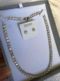 Chomel Diamanté Necklace and Earrings Set