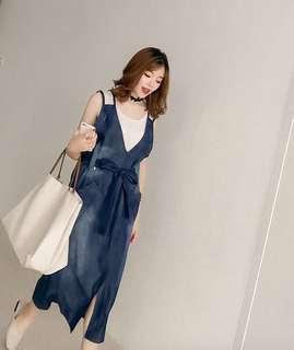 #18C322丹寧V剪裁洋裝