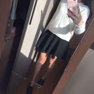 黑色 毛料 傘狀短裙 迷你裙