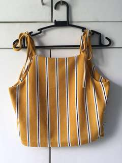 Yellow Stripes Crop Top