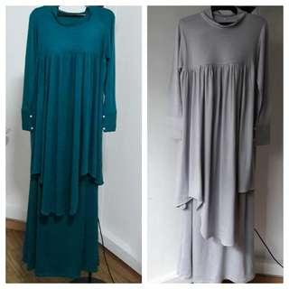 Muslimah suit jubah skirt set