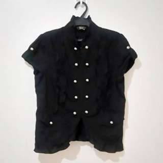 Black office blouse with pearly metallic buttons