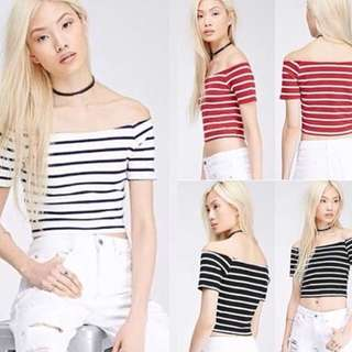 NEW H&M Sabrina Stripes Top