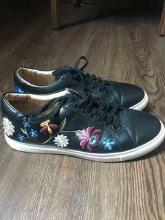 Black Sneakers with Flowers