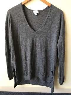 Grey long sleeve wool top