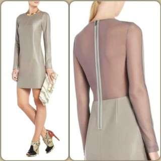 BNWT BCBG Max Azria Jillea Mesh-Back Faux-Leather Dress Size 4