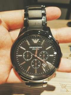 Armani三眼陶瓷手錶