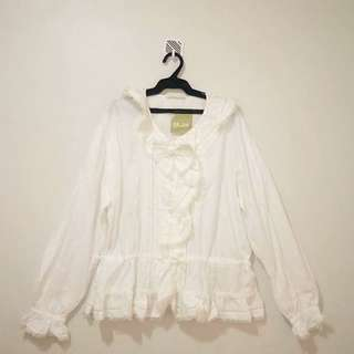 White long sleeved blouse with ruffled,lacy sleeves and neckline/ Lolita blouse