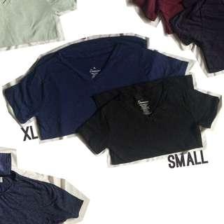 Small Black Plain Vneck Shirt