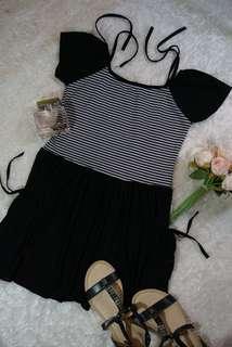 Black striped top dress