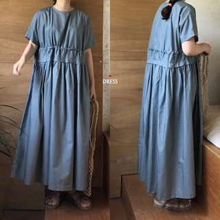 Summer Korean chic retro round neck waist small pleated loose loose thin skirt